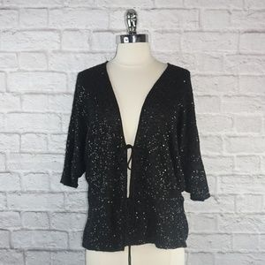 LaRok 100% Cashmere Sequin Cardigan Sweater